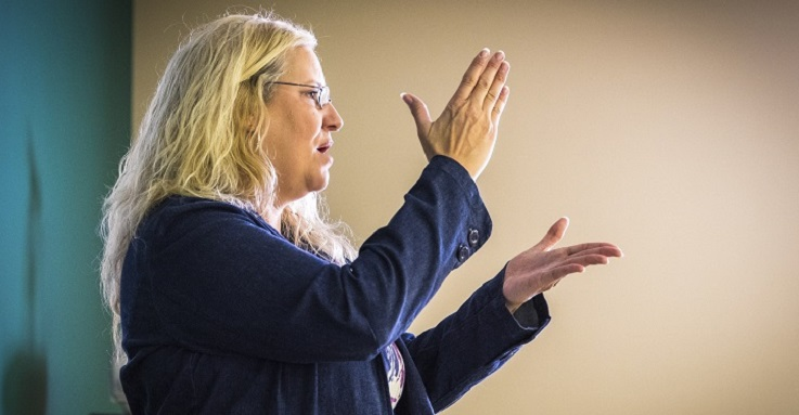 ASL interpreting students see the important role of women in Deaf advocacy.